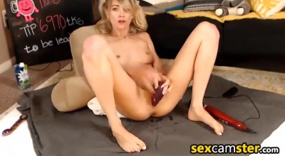 Cute Girl Masturbating And Sucking On A Dildo