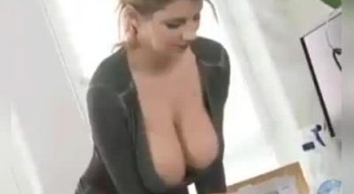 Perky Boob Blond Teen Is Getting Her Tight Pussy Stretched By Two Dicks.