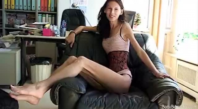 Skinny Blonde Chick With Small Tits, Angelica Rose Sucks A Huge Dick, While In Front Of The Webcam.