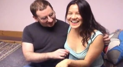 Sexy Oriental Housewife In Sexy Lingerie Gets Up On The Bed A Filthy Rich Bald Stranger In.