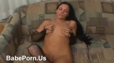 Hot Brunette In A Fishnet Outfit, Katrin Tequila Is Having Silly Sex In Her Huge Bed.