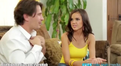 Dillion Harper And Kayla Jade Are Having Sex In A Huge, Tan Bed With A Huge Cock.