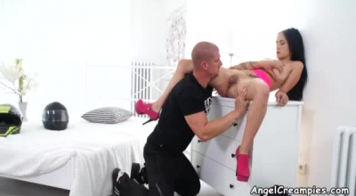 Dicked Up European Chick Gets Nailed Outdoors On A Massage Table