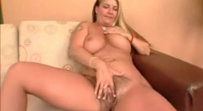 Busty Babe With Big, Firm Boobs, Lady Lynn Is Holding Her Legs Lifted High And Masturbating With Toilet Lube.