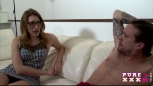 Randy Austen Is Wearing White Stockings While Her Partner Is Drilling Her Pussy With A Sex Toy