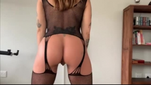 Slutty Woman In A Sexy, Red Dress Is Satisfying A Guy Who Is More Than Her Husband