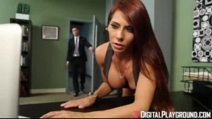 Madison Ivy And Sophia Leone Give Deep Blowjob And Enjoy Every Inch Of Anal Drilling On Table