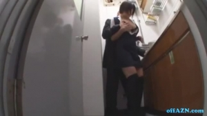 Busty Japanese Lady On Her Knees And Sucking A Stiff Cock