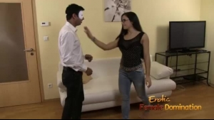 Black Haired Mistress With Black Hair, Angie Moon Is Kneeling In Front Of Her Loyal Slaves